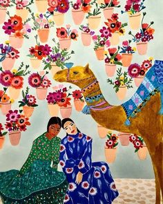 """Escape into the colorful, pattern mixing world of Roeqiya Fris. The Dutch-Egyptian illustrator cites """"Arab culture, nature, and fashion"""" as inspiration for her works of visual splendor, which juxtapose repeating motifs every chance they get. Art And Illustration, Art Illustrations, Fashion Illustrations, Art Inspo, Kunst Inspo, Buch Design, Art Design, Graphic Design, Arte Fashion"""