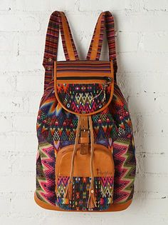 Free People Zunil Backpack from Free People. Saved to Things I want as gifts. Backpack Bags, Leather Backpack, Fashion Backpack, Diaper Backpack, Diaper Bag, Boho Hippie, Hippie Style, Mochila Hippie, Sac Week End