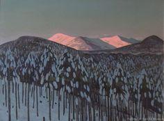 """Winter Sunrise"" or ""Winter Sunrise, Adirondacks,"" Rockwell Kent, oil on panel, Plattsburgh State Art Museum. Winter Landscape, Mountain Landscape, Nocturne, Rockwell Kent, Digital Museum, Soul Art, Collaborative Art, Landscape Illustration, Portraits"