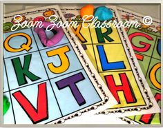 Colorful and cheerful uppercase alphabet bingo games product for young children.  There are 3 sets of cards with just 9 letters printed on each card.  Laminate the sheets and use modeling dough to practice letter formation in addition to using the sheets as a bingo game.  $