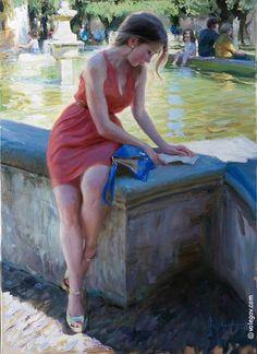 Volegov, Vladimir (b,1957)- Woman w Letter at Fountain