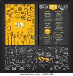 Vector restaurant brochure, menu design. Vector cafe template with hand-drawn graphic. Food flyer.