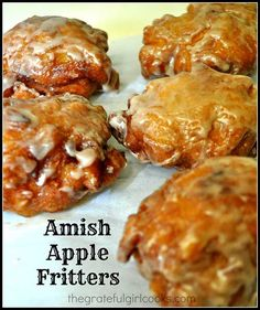 Amish Apple Fritters / The Grateful Girl Cooks! Amish Apple Fritters are delicious crunchy fried doughnuts made easily from scratch with a simple batter containing fresh apple chunks and cinnamon, and covered with a sweet glaze. Amish Apple Fritter Recipe, Amish Donuts Recipe, Apple Fritter Cake, Donut Recipes, Cooking Recipes, Cooking Cake, Healthy Recipes, Cooking Food, Cooking Videos