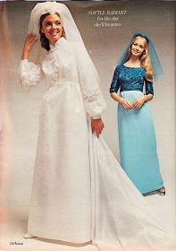 Ahh, July is definitely the month for weddings (okay there are more weddings in June, but hey, let's not get picky.) And with recent develo. Vintage Wedding Photos, Vintage Weddings, Bridal Gowns, Wedding Gowns, 1970s Wedding Dress, Yes To The Dress, Here Comes The Bride, Well Dressed, Bridesmaid Dresses