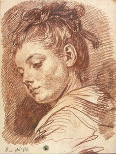 Head of a young woman  // Jean Baptiste Greuze (1725-1805)
