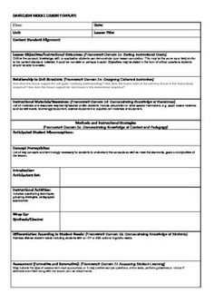 Danielson Model Lesson Plan Template