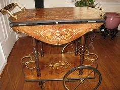 Italian Inlay Marquetry Burl Wood Vintage 50s Tea Wine Beverage Serving Bar Cart Ebay