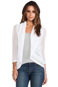 no pattern - Autumn Cashmere 3/4 Sleeve Pointelle Drape Cardigan in Bleach White, garment for sale