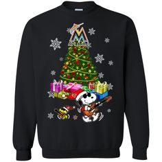 Miami Marlins Ugly Christmas Sweaters Merry Christmas Snoopy Hoodies Sweatshirts