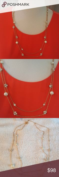 """kate spade Souble Strand Pearl/Crystal Neckace Beautiful necklace that will add some pizzazz to your outfit. Up to 30"""" with 3"""" extender and I have two pair of earrings in my closet that are a perfect match. kate spade Jewelry Necklaces"""