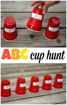 Cup Hunt Super fun alphabet game for kids! This would be an awesome way to practice sight words, numbers or math facts too.Super fun alphabet game for kids! This would be an awesome way to practice sight words, numbers or math facts too. Kindergarten Games, Preschool Literacy, Preschool Letters, Alphabet Letters, Letter Tracing, Preschool Learning Games, Letter Learning Games, Letter Sound Games, Alphabet Crafts