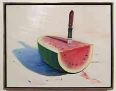 """""""Watermelon and Knife,"""" Wayne Thiebaud (American, b. 1920), Oil on board, 16 x 20 inches, 1989"""