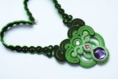 Soutache Necklace Toxic by GosiaBizu.deviantart.com on @DeviantArt