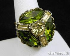 Vintage Green & Yellow Rhinestone Cocktail Ring SZ 8 Adj Super Sparkly! $20.00