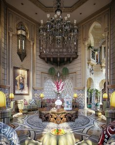 Appealing Elegant Flower Arrangement With Huge Chandelier White Cage Bird Also Vintage Sofa And Wooden Table Elegant Regal Interiors ~ Ontrus Moroccan Design, Moroccan Style, Design Exterior, Interior And Exterior, Luxury Interior, Interior Architecture, Style Marocain, Morrocan Decor, Arabic Decor