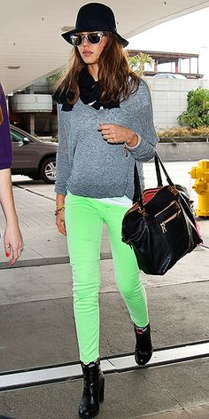Neon green denim and gray sweater. Need it.