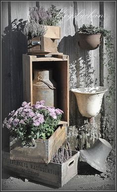 Vintage wooden boxes and other vessels filled with flowers