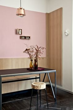 Chez Andrea Marcante de UdA |MilK decoration, pink wall, pink kitchen