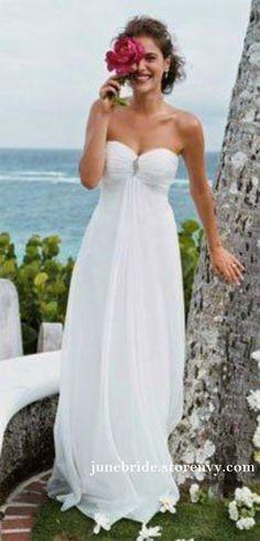 81d93a2f09 White Chiffon Summer Beach Wedding Dress,Boho Wedding Dress,Sweetheart Long Bridal  Gowns 2019