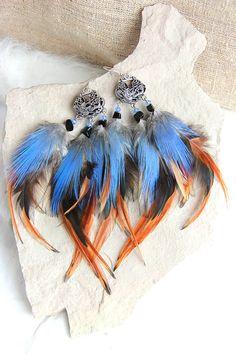 Blue Feather Earrings Long Feather Earrings Sleeping by Nastasy