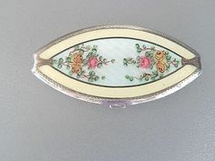 Antique EAM Sterling Silver Guilloche Enamel Powder Compact Mirror Oval
