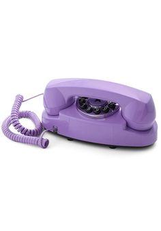 Style Hotline Phone in Violet by Streamline - Purple, Solid, Spring, Summer… Vintage Phones, Vintage Telephone, Vintage Cameras, Daphne Blake, Retro Phone, Purple Home, Malva, Old Phone, All Things Purple
