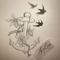 Esta também já tem dono ;) Estabilidade, segurança no mundo físico, firmeza, esperança, e confiança no mundo espiritual. #fixaroinstante #sketch #draw #tattoo #ink #graphite #ancor #orquídea #orchid #art