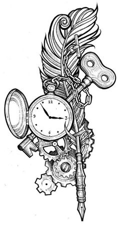 Steampunk coloring page printable adult Kleuren voor volwassenen Färbung für Erwachsene coloriage pour adultes colorare per adulti para colorear para adultos раскраски для взрослых omalovánky pro dospělé colorir para adultos färgsätta för vuxna farve for Watch Tattoos, Time Tattoos, Key Tattoos, Heart Anchor Tattoos, Time Piece Tattoo, Skull Tattoos, Compass Tattoo, Arm Tattoo, Tattoo Tree