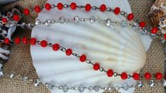 red bead necklace clear bead necklace 54 inch hook linked Get ready to Ole Miss Hotty Toddy Tailgate party with this necklace!  Rebels