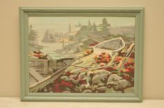 VIntage Paint by Number Boats and Dock Light Green Frame
