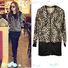 New Fashion Slim Leopard Print Long Sleeve Jacket Hooded Zip Up Coat