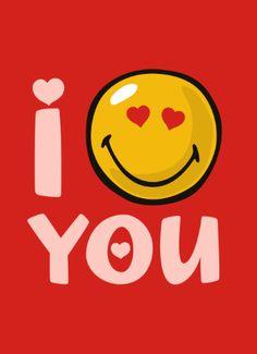 Zeg het met een smiley kaart: I love you!
