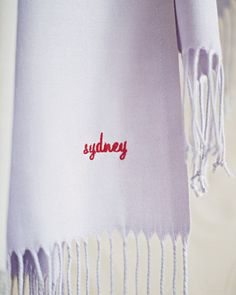 A gift for your bridesmaids: super-soft monogrammed pashmina scarves