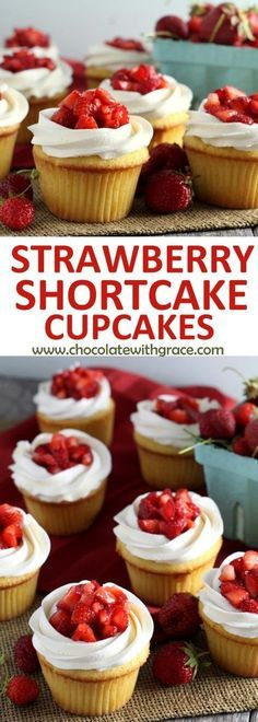 Strawberry Shortcake Cupcakes - Yellow cupcakes, whipped vanilla buttercream and. Strawberry Shortcake Cupcakes - Yellow cupcakes, whipped vanilla buttercream and fresh strawberries make these strawberry shortcake cupcakes. Yellow Cupcakes, Yummy Cupcakes, Vanilla Cupcakes, Best Cupcakes, Easter Cupcakes, Gourmet Cupcakes, Velvet Cupcakes, Flower Cupcakes, Christmas Cupcakes
