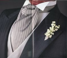 My fiance and I dislike the look of vests, but he is wearing an ascot for our wedding.is it necessary to wear a vest with an ascot? Groom Wear, Groom Attire, Groom And Groomsmen, Wedding Groom, Wedding Suits, Wedding Attire, Formal Wedding, Four In Hand Knot, Art Deco Wedding