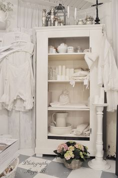 Bathroom Cabinet Whitewashed Cottage Chippy Shabby Chic French Country Rustic Swedish Decor Idea