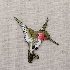 Iron On Embroidered Applique Patch Ruby Red Throat Hummingbird LARGE