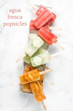 pop! goes my summer: agua fresca popsicles | Sheri Silver - living a well-tended life... at any age Fresh Lime Juice, Fresh Fruit, Wheat Free Baking, Mexican Drinks, Slushies, Refreshing Drinks, Frozen Treats, Popsicles, Dairy Free