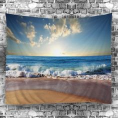 Wall Decoration Beach Sunlight Tapestry - LAKE BLUE W51 INCH * L59 INCH