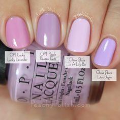 OPI Fall 2015 Venice Collection comparisons by Peachy Polish Light Purple Nails, Purple Nail Polish, Gel Polish, Summer Nail Polish, Pink Purple, Cute Nails, Pretty Nails, Lavender Nails, Lavender Nail Polish