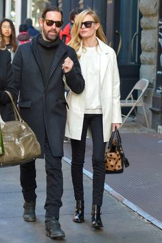 Kate Bosworth.. Topshop Kate Bosworth Leather Sweater, Topshop Kate Bosworth Leather Coat, Burberry Heart Print bag, and Topshop Aleta Monk Strap Boots..