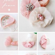 How-to-make-a-fabric-flower-headband hair accessories diy fabric flowers Inspirational Monday – Do it yourself (diy) Flower series – Fabric Flower Handmade Flowers, Diy Flowers, Flowers In Hair, Flower Hair, Tulle Flowers, Pretty Flowers, Wedding Flowers, Headband Flowers, Fabric Flower Headbands