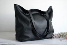 BLACK LEATHER Tote Bag Large Tote Bag Italian Pebbled by KadoBag