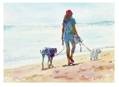 """Graham Berry Walking with her dogs 8"""" x 11"""""""