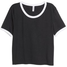 H&M Crop top ($10) ❤ liked on Polyvore featuring tops, t-shirts, shirts, crop top, black, crop tee, sleeve crop top, sleeve t shirt and black crop top