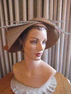 Distinctive 40 50 Brn Felt Wide Brim Hat Creased in Front with Pheasant Feathers | eBay