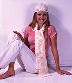 Beaded cap & scarf free crochet pattern