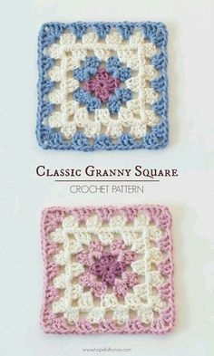 Classic Granny Square - Free Crochet Pattern I first learned how to crochet at the young age of nine when my mum taught me how to make a simple granny square, and it was love at first sight.Granny squares are such an iconic part of crochet histo Crochet Motifs, Crochet Blocks, Granny Square Crochet Pattern, Crochet Squares, Crochet Blanket Patterns, Knitting Patterns, Afghan Patterns, Easy Patterns, Sewing Patterns