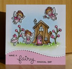Hi this is my card for the new In the pink challenge 💕💕 we want to see lots of dies and punches on your pink card! We are being sponsored by I made a card with the frosty fairy friends from Lawn Fawn I coloured these cuties with my polychromos pencils Rainbow Card, Lawn Fawn Stamps, Pink Cards, Gnome, Polychromos, Birthday Diy, Scrapbook Cards, Scrapbooking, Creative Cards