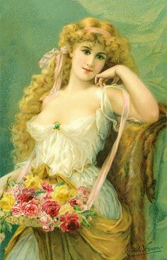 Sweet as Roses ~ Emile Vernon Victorian Paintings, Victorian Art, Victorian Women, Vintage Prints, Vintage Art, Vintage Ladies, Vintage Wine, Vintage Roses, Vernon